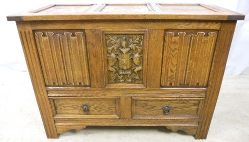 Antique Jacobean Style Oak Blanket Chest - SOLD
